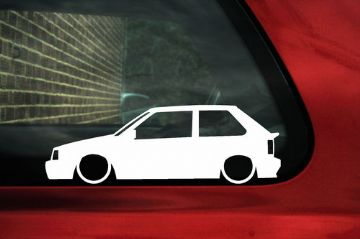 2x LOW Nissan Micra K10 Turbo (3-door) outline, silhouette stickers, Decals